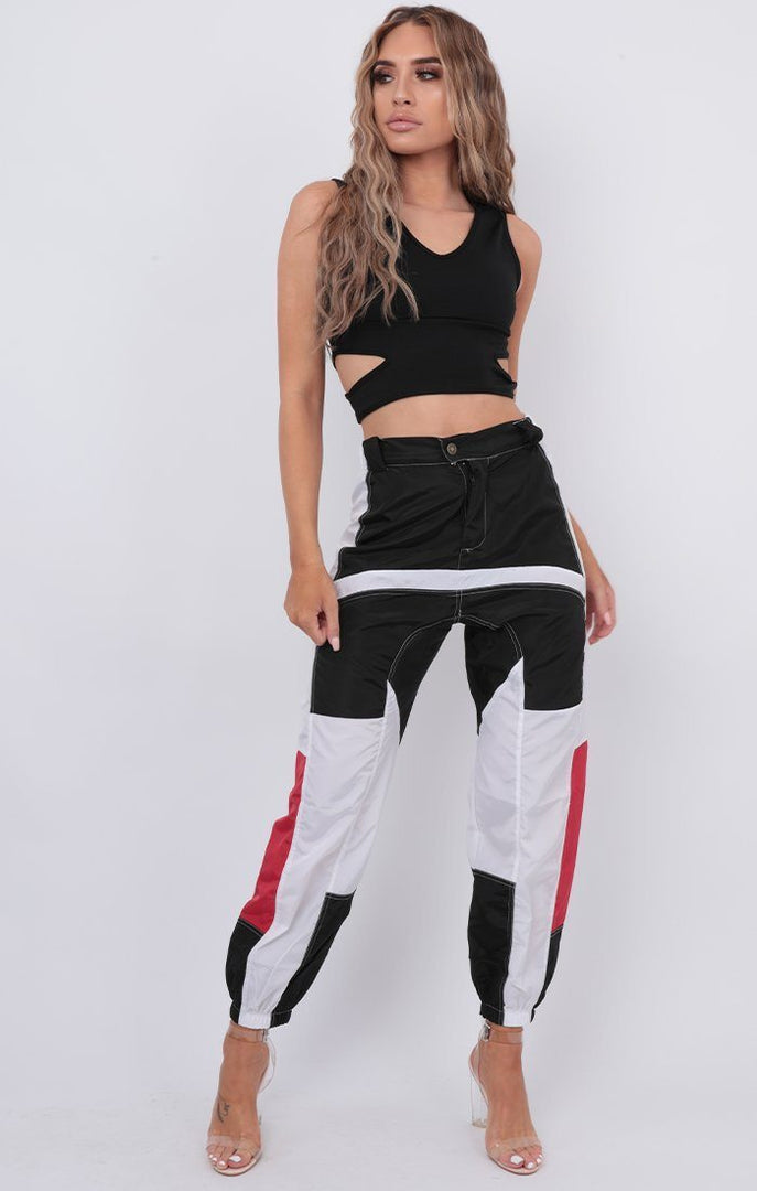 Black Contrast Reflective Cargo Trousers - Daire