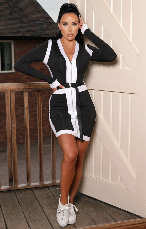 Black Contrast Zip Up Long Sleeve Bodycon Mini Dress - Katalina