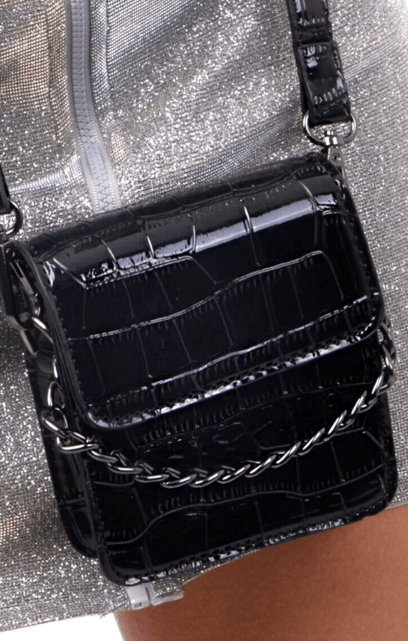 Black Croc Print Chain Mini Bag - Perla