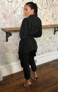 Black Cuffed Shell Suit Utility Jumpsuit - Sydney
