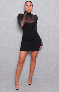 Black Fishnet Long Sleeve High Neck Bodycon Mini Dress - Raven