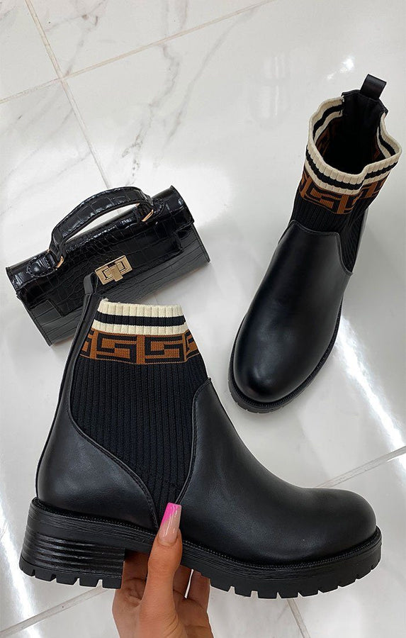 Black Geometric Matte Chelsea Ankle Boots - Harvey