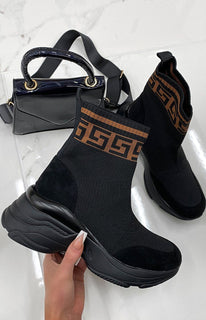 Black Geometric Sock Chunky Sole Boots - Keely