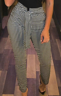 Black Gingham High Waisted Skinny Belted Trousers - Tia