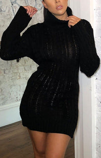 Black Knitted Long Sleeve Bodycon Jumper Dress - Alida