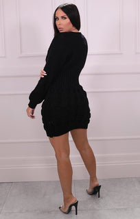 Black Knitted Mini Jumper Dress - Kaia