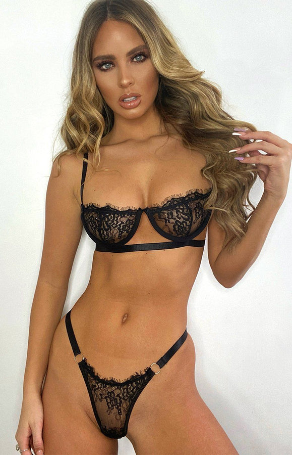 Black Lace Balcony Bra & High Waisted Ring Detail Thong Set - Molly