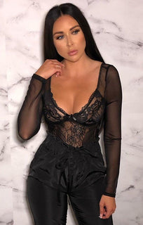 Black Lace Long Sleeve Plunge Bodysuit - Molly