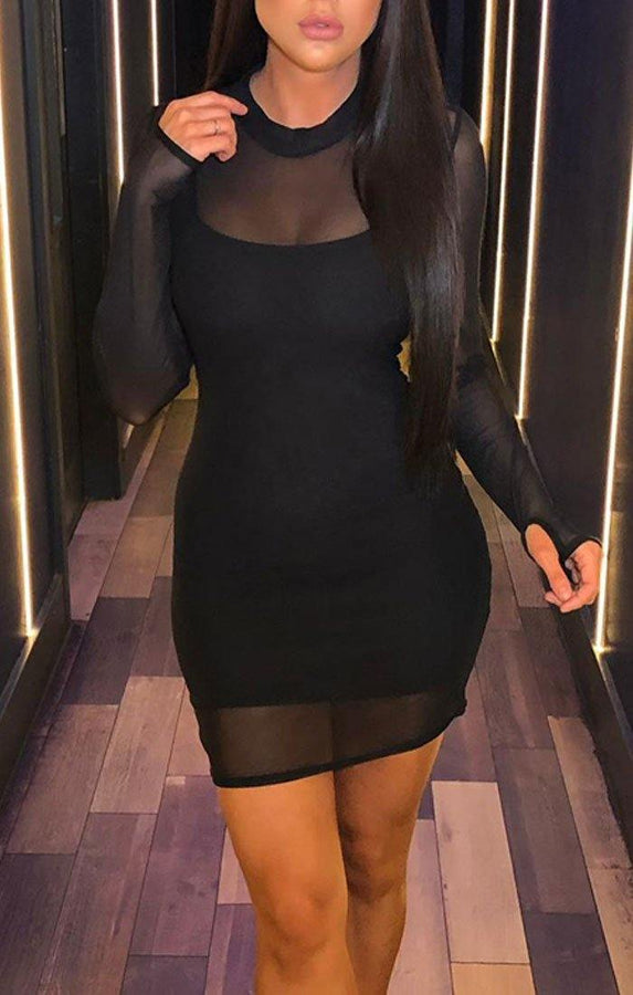 Black Mesh High Neck Mini Dress - Arella