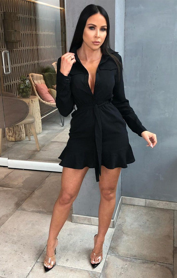 Black Mini Shirt Dress - Paislee