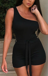 Black One Shoulder Playsuit - Jeska