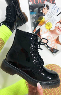 Black Patent Lace Up Flat Boots - Kevina