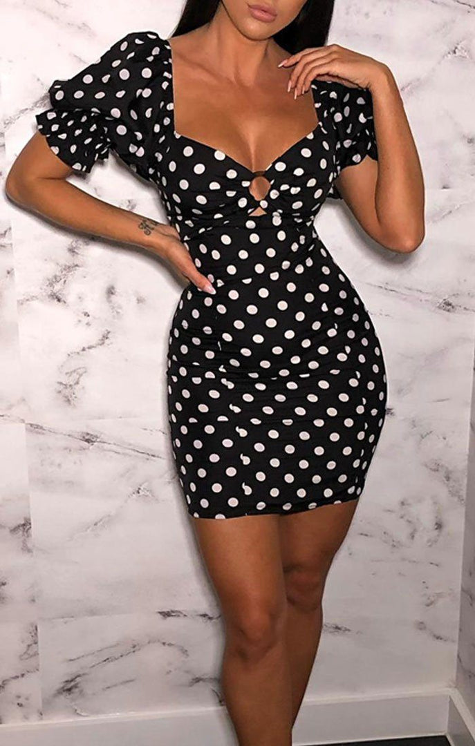 Black Polka Dot Puff Sleeve Bardot Dress - Kimber