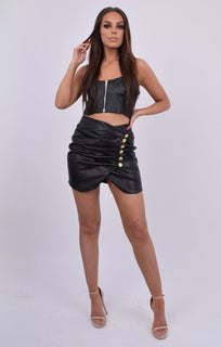Black PU Zip Front Crop Top & Skirt Co-ord - Finn
