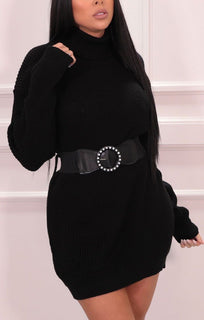 Black Roll Neck Belted Jumper Dress - Nori
