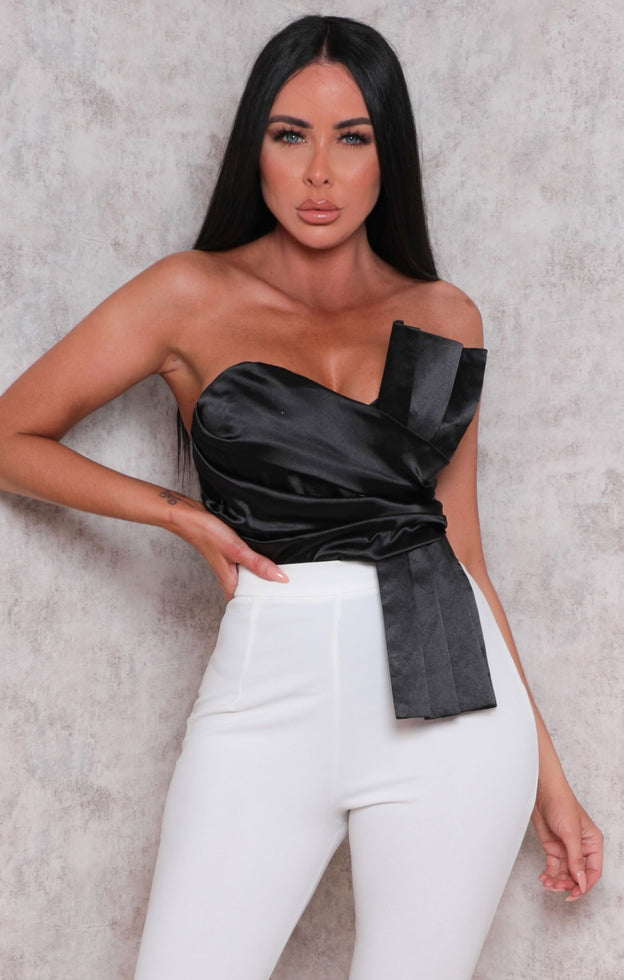Black Satin Pleated Strapless Bodysuit - Ashby