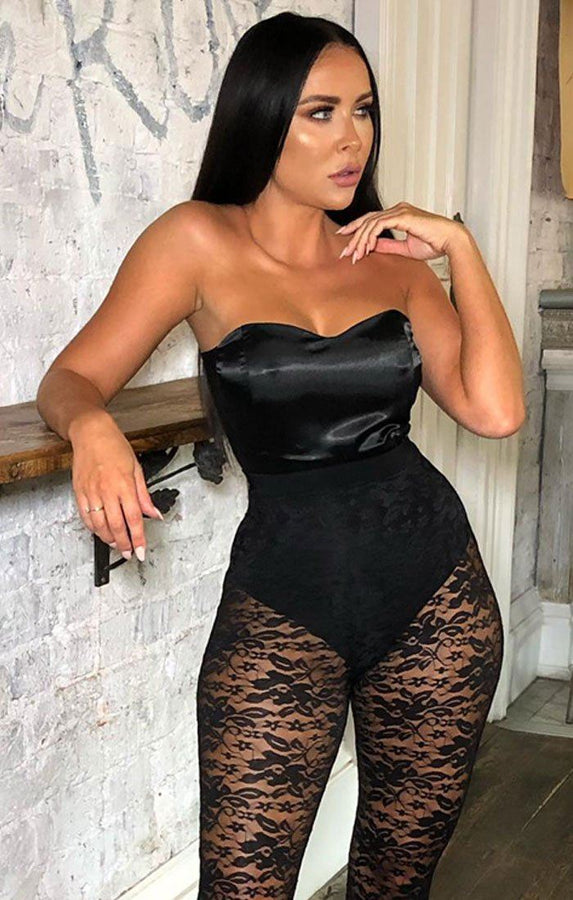 Black Satin Strapless Bodysuit - Shelby