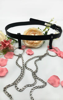 Black Silver Chain Ring Belt - Silvia
