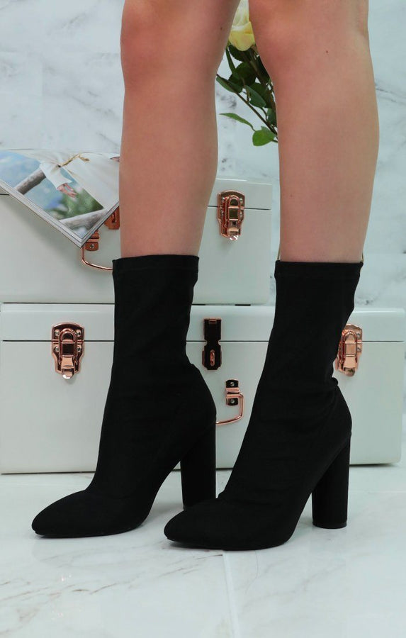 Black Sock Block Heel Boots - Rilla