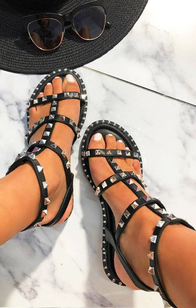 Black Studded Gladiator Sandals - Irina