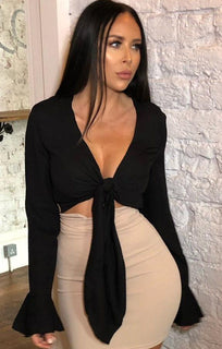 Black Tie Front Frill Sleeve Crop Top - Lark