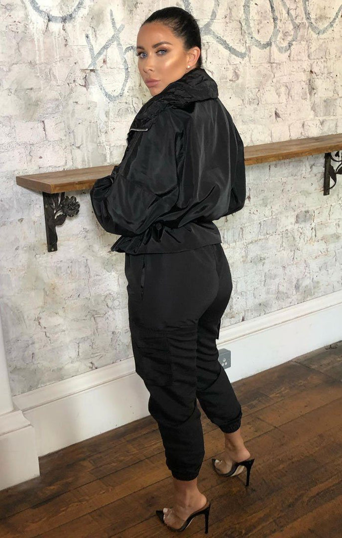 Black Tracksuit Elasticated Jacket - Polly