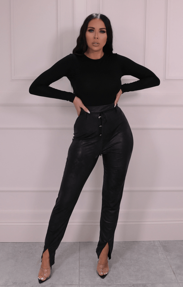 Black Wet Look Button Detail Split Leg Trousers - Bonita