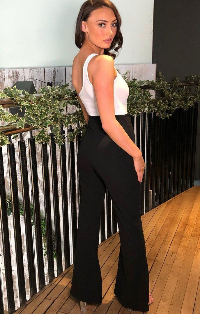 Black Wide Leg High Waisted Trousers - Isadora