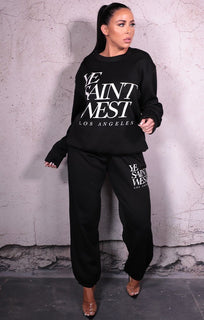 "Black ""YeSaintWest' Slogan Jumper Cuffed Joggers Loungewear Set - Kirsty"