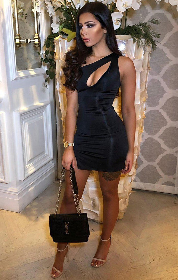 Black Slinky Cutout One Shoulder Bodycon Dress- Camellia