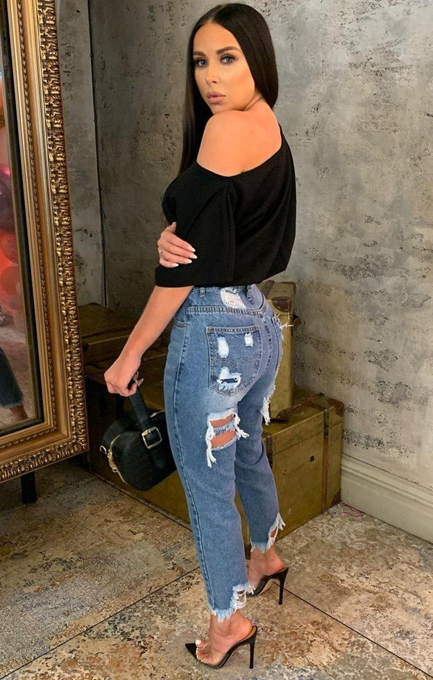 Blue Denim Ripped Back Mom Jeans - Jayda