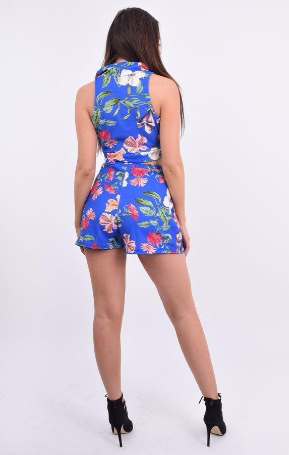 Blue Floral Deep Plunge Crop Top & Shorts Co-ord - Eleanor