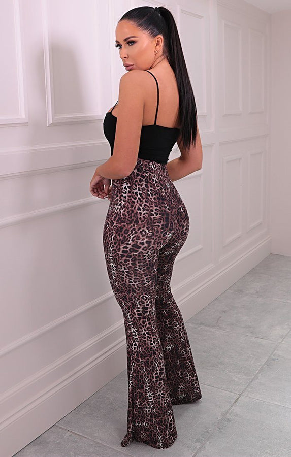 Brown Cheetah Print High Waisted Flared Trousers - Toya
