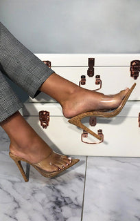 Brown Cork Clear Mules - Robin