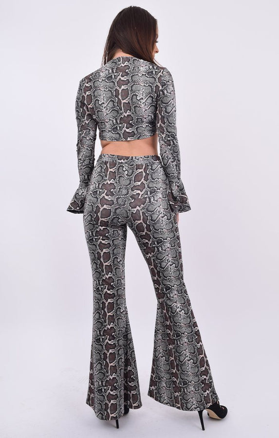 Brown Snake Print Flare Sleeve Crop Top & Trouser Co-ord - Summa