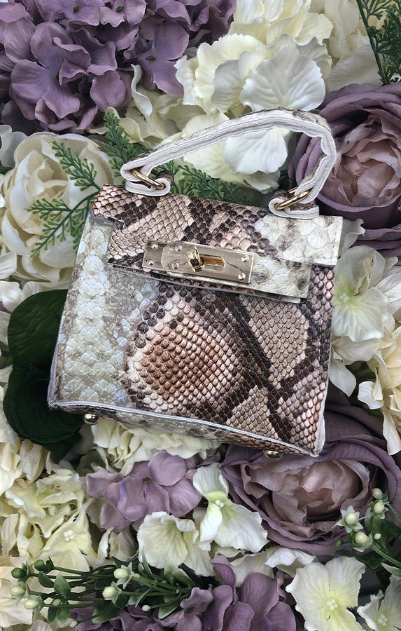 Brown Snake Print Micro Mini Bag - Bess