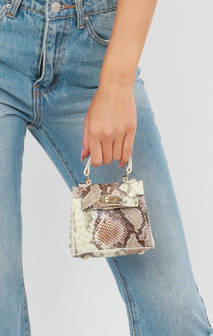 Brown Snake Print Mini Bag - Laura