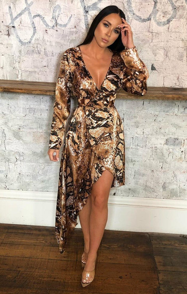 Brown Snake Print Satin Wrap Dress - Aira