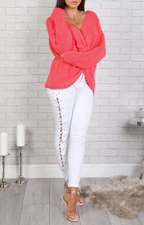 Coral Front Wrap Knitted Jumper - Amy