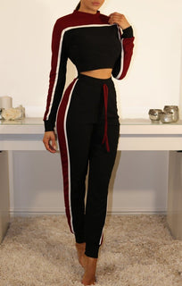 Black And Wine Cropped Tracksuit