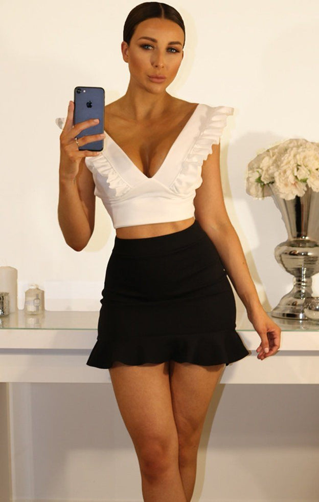 White Frill Sleeve Crop Top
