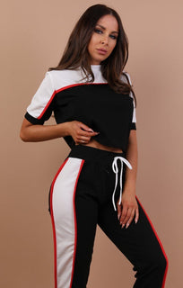 Black Colour Contrast Loungewear Set - Libby