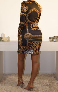Black And Gold Scarf Print Bodycon Dress