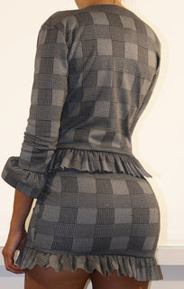 Houndstooth Patterned Frill Blazer