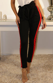 Black Red Stripe Detail Trousers