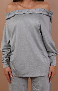 Grey Oversized Frill Detail Loungewear Set - Addison