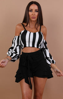 Black Stripe Ruffle Sleeve Crop Top - Flora