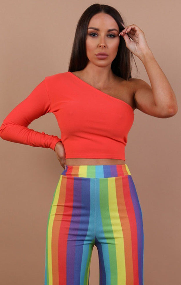 Orange One Shoulder Crop Top - Lola
