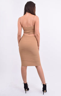 Camel Bandage Crop Top & Midi Skirt Co-ord - Elysia