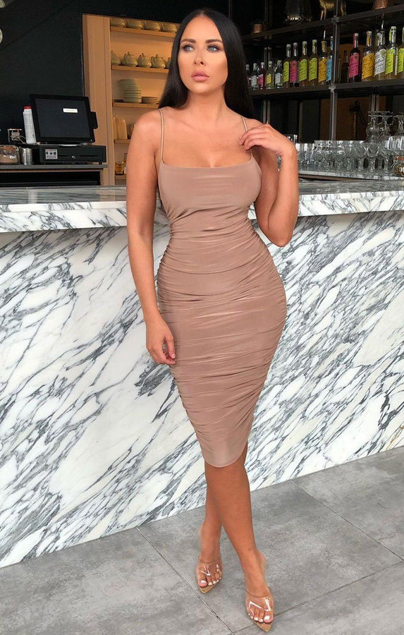 Camel Ruched Knee Length Bodycon Dress - Taylor